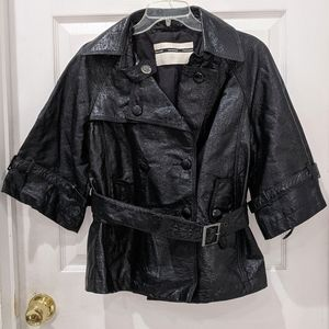 Topshop Faux Leather Double Breasted Belted Jacket